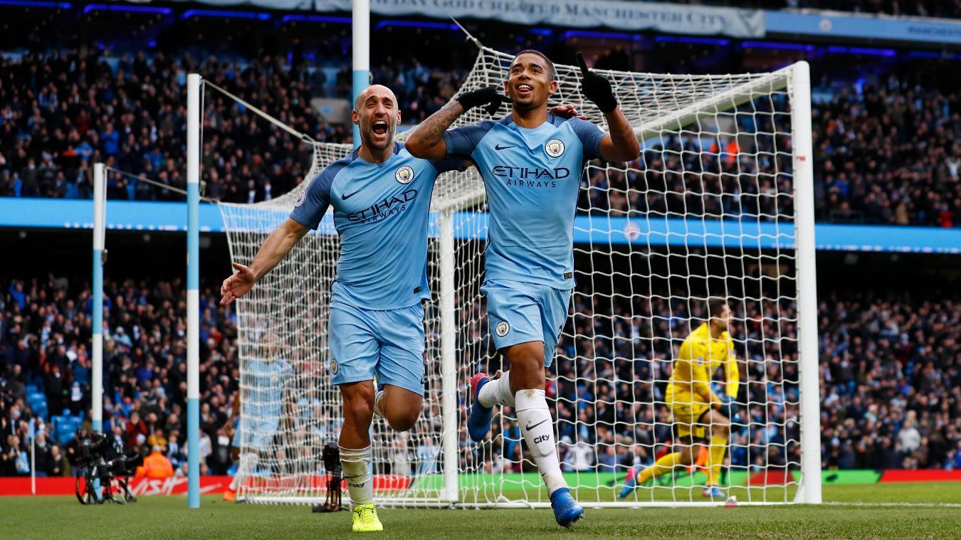Manchester City's Gabriel Jesus celebrates scoring their second goal with Pablo Zabaleta