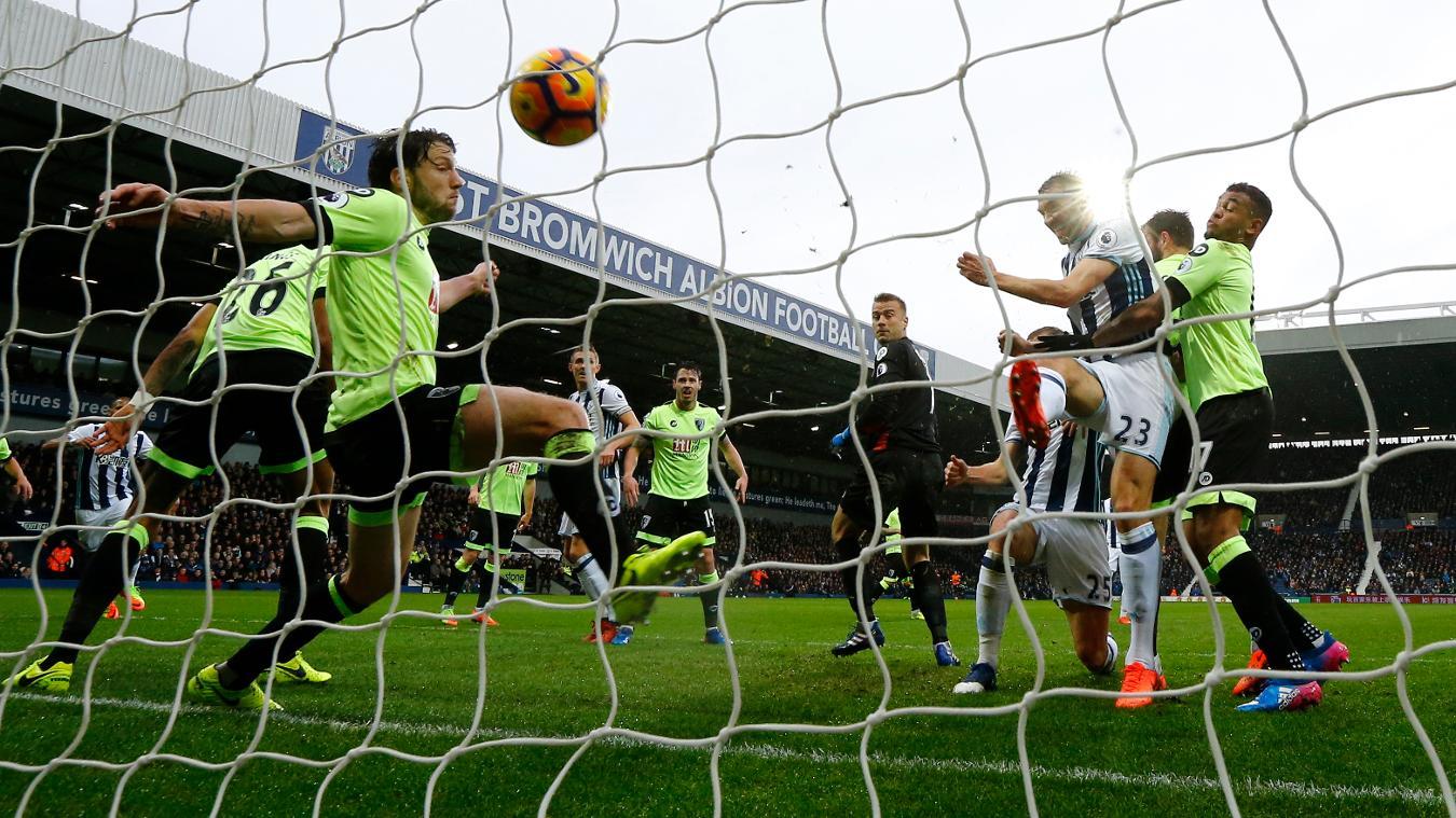 Gareth McAuley scores against AFC Bournemouth