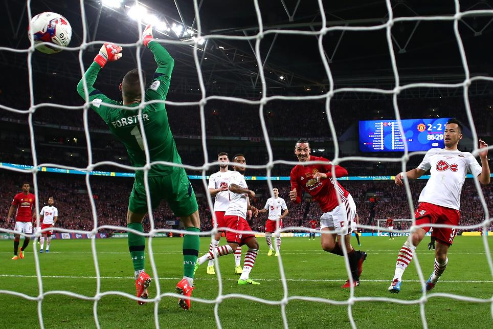 Zlatan Ibrahimovic scores Manchester United's EFL Cup final goal