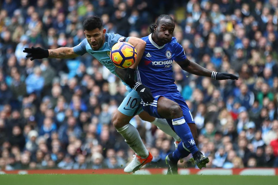 Sergio Aguero, Man City, and Victor Moses, Chelsea