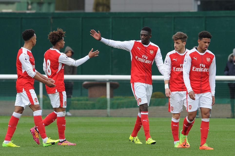 Yaya Sanogo celebrates his PL2 goal