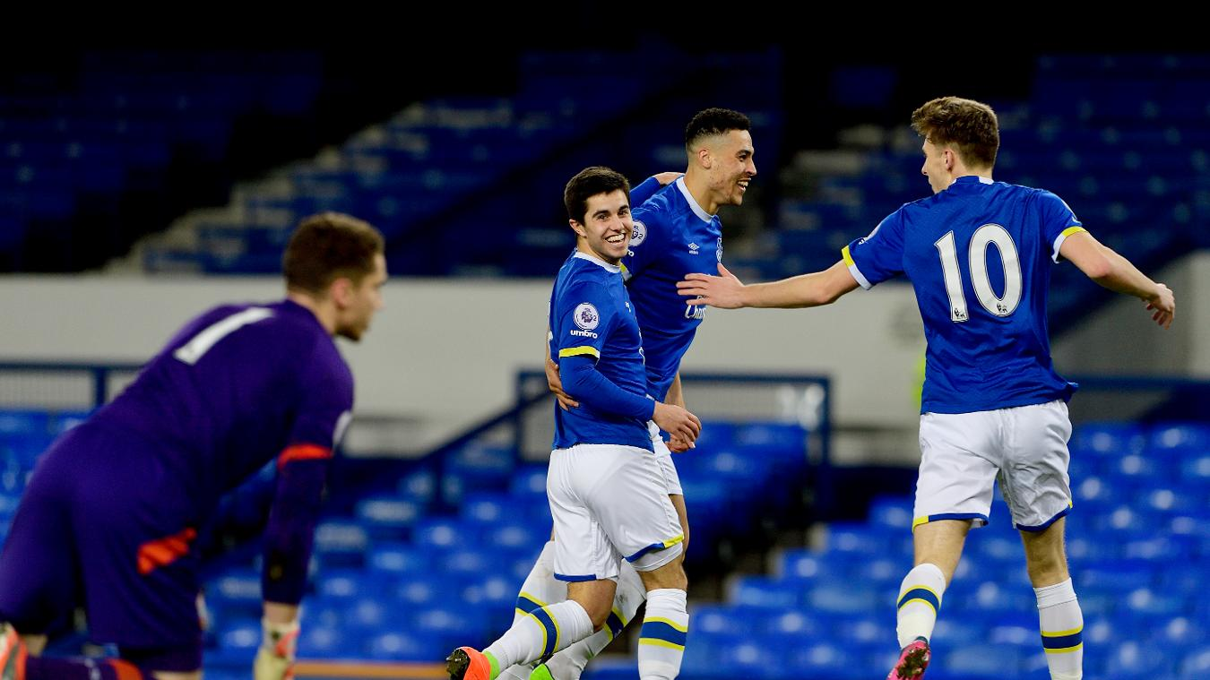 Liam Walsh celebrates scoring for Everton