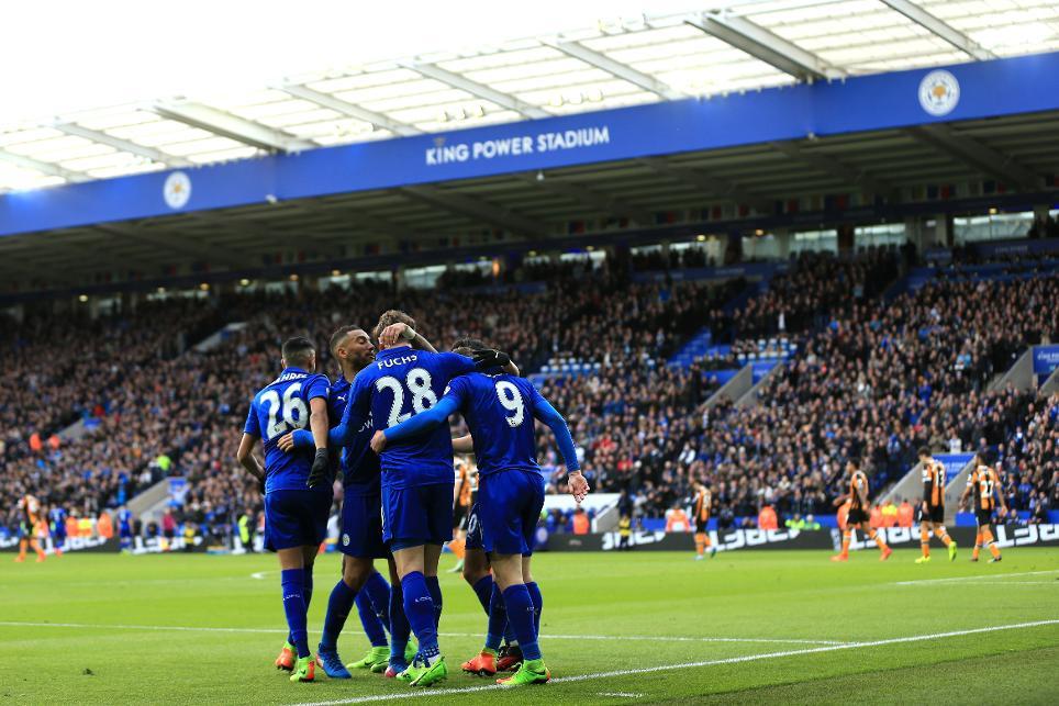 Christian Fuchs celebrates scoring for Leicester