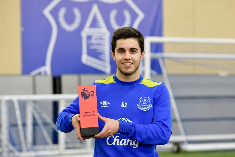 PL2 Player of the Month Liam Walsh, of Everton