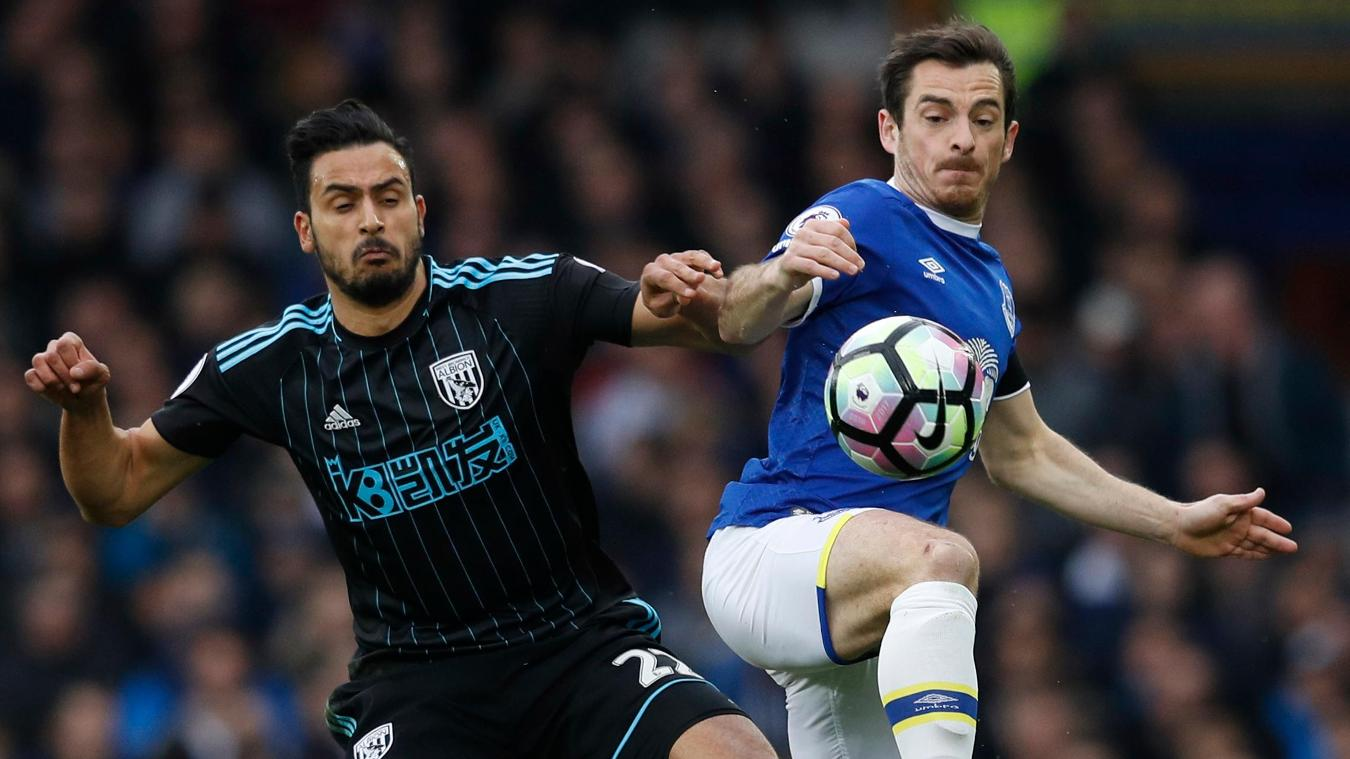 Everton's Leighton Baines with West Bromwich Albion's Nacer Chadli