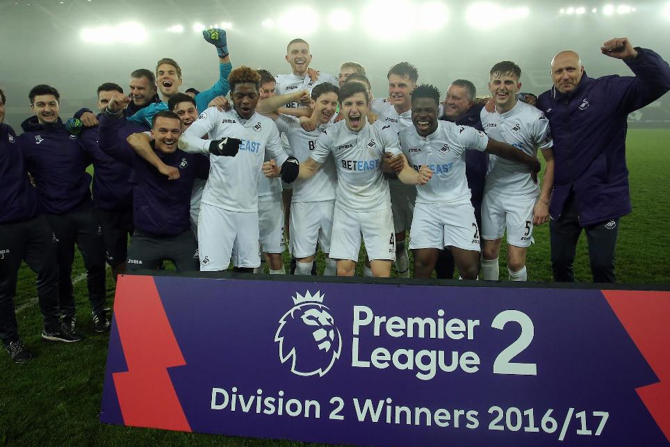 Swansea City celebrate winning PL2 Division 2 title