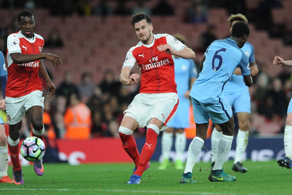 Carl Jenkinson scores for Arsenal's PL2 team
