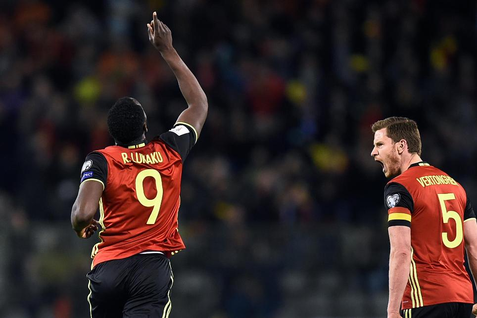 Romelu Lukaku, of Everton, celebrates scoring for Belgium