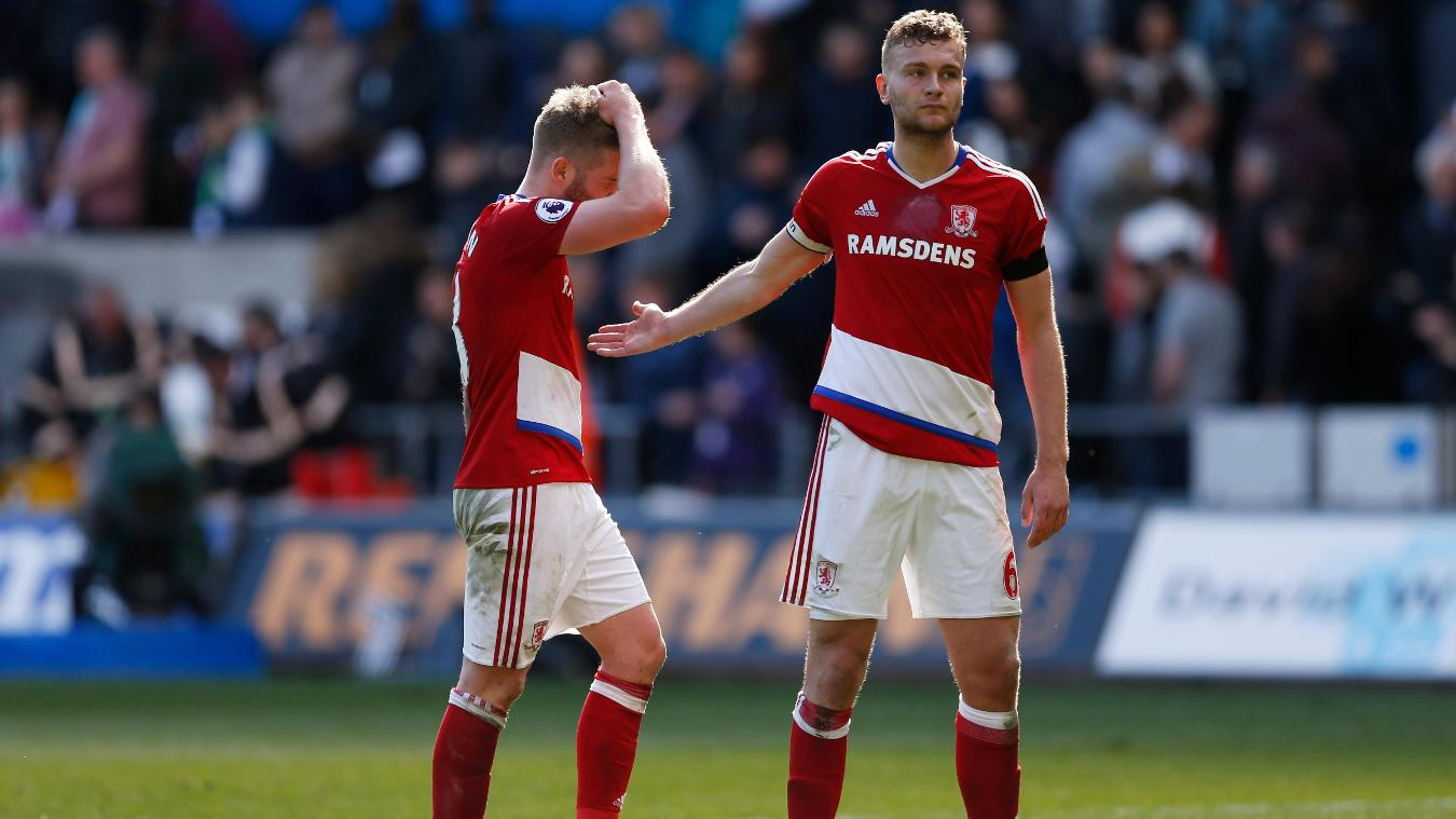 Middlesbrough's Ben Gibson, right, and Adam Clayton