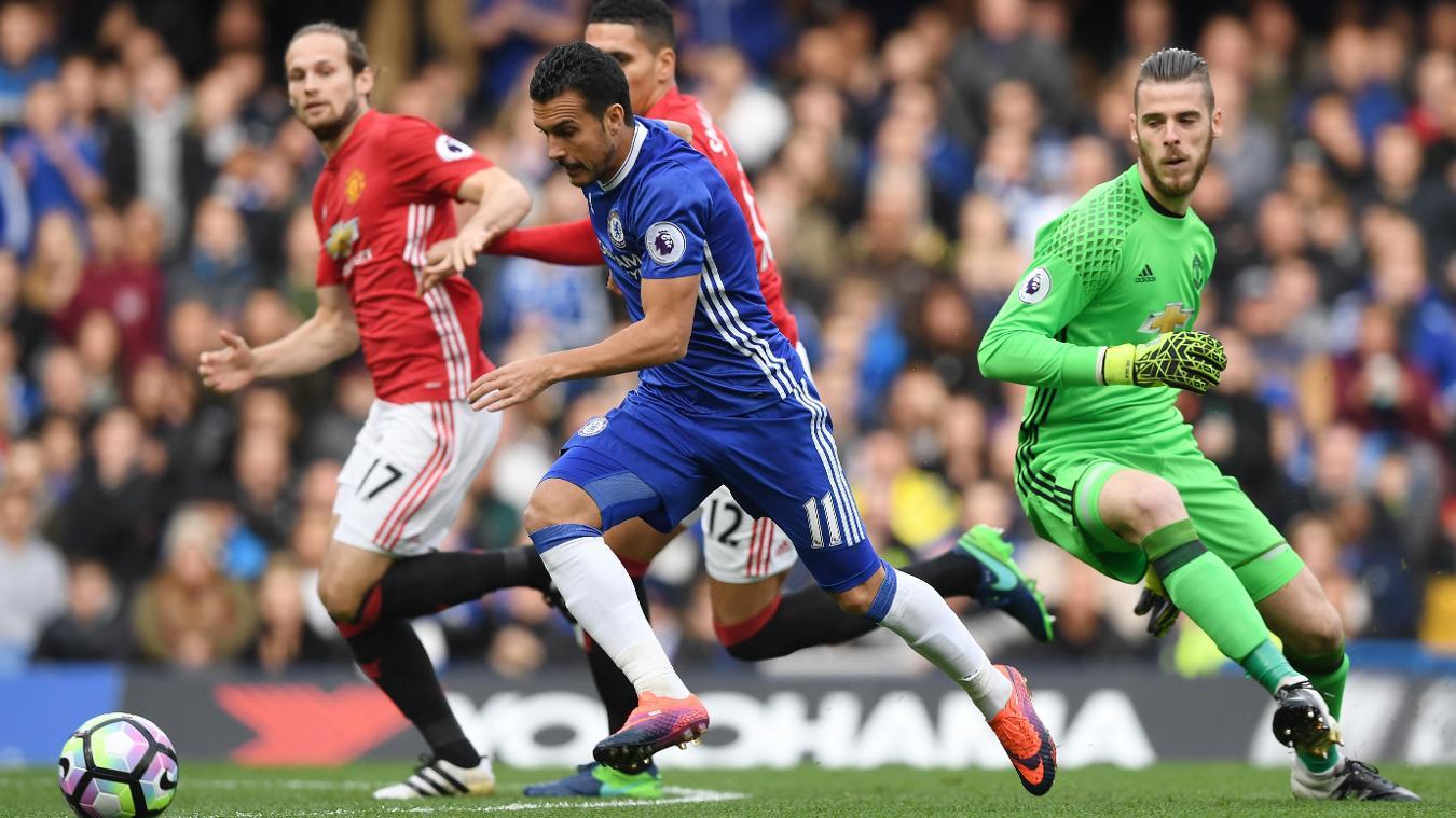 Pedro in action against Man Utd