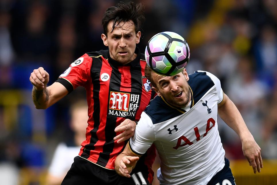 Tottenham's Harry Kane in action with AFC Bournemouth's Charlie Daniels