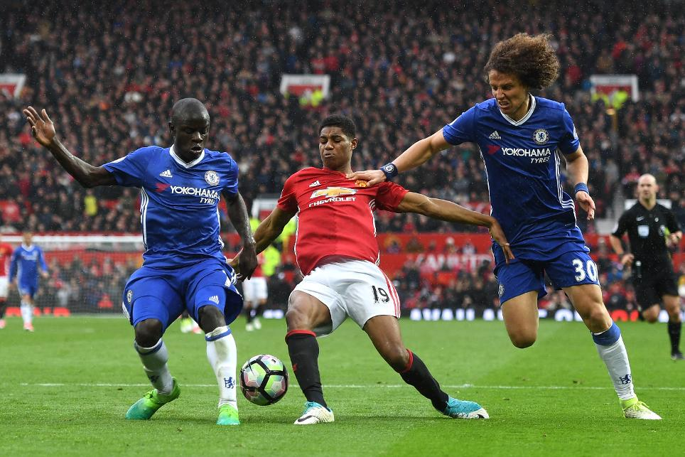 N'Golo Kante and David Luiz tackle Marcus Rashford