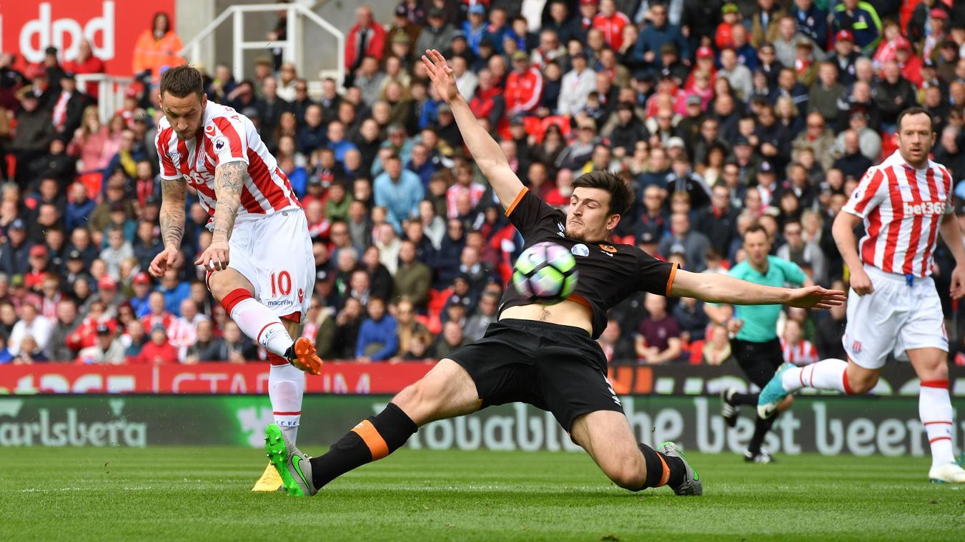 Stoke City's Marko Arnautovic scores their first goal