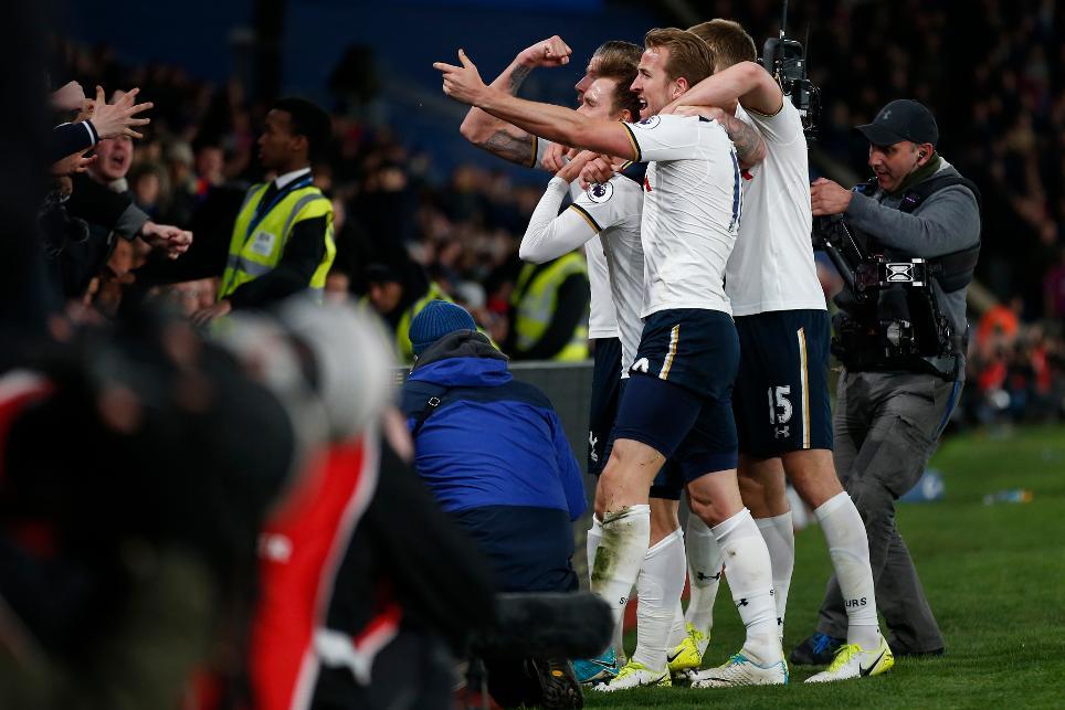 Tottenham's Christian Eriksen celebrates scoring their first goal with Harry Kane and teammates