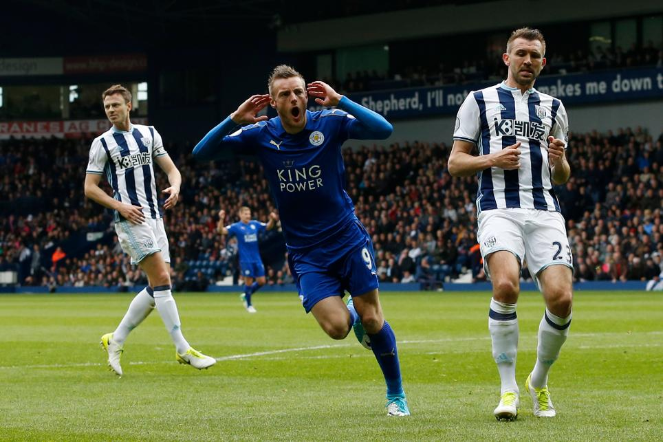 Leicester City's Jamie Vardy celebrates scoring their first goal against West Brom