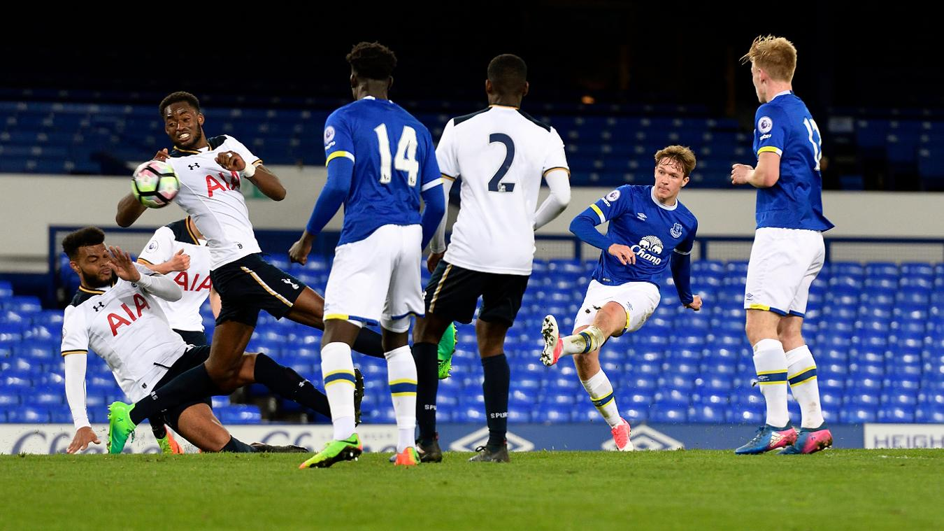 Kieran Dowell, of Everton, scores