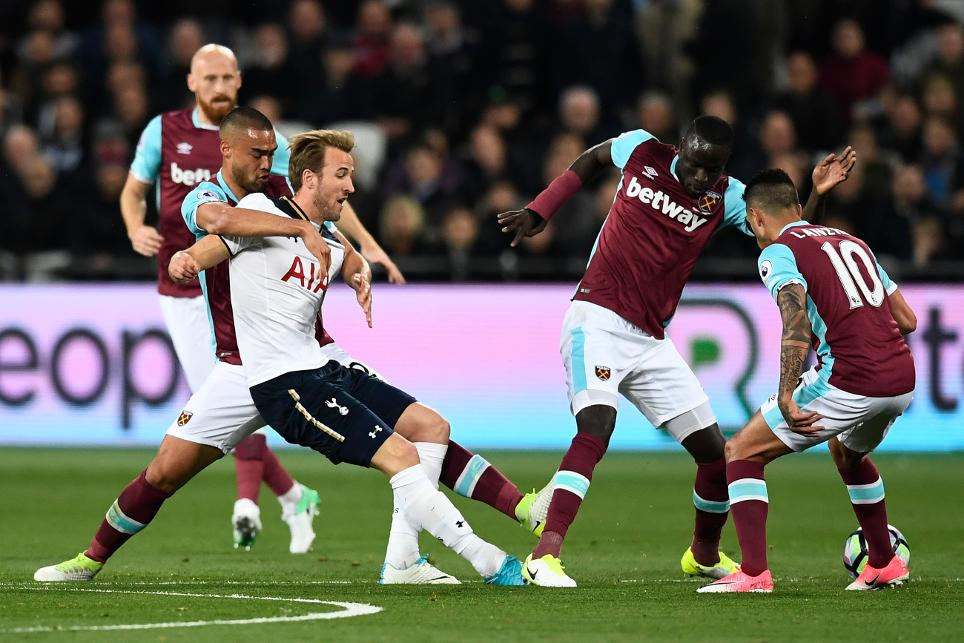 Harry Kane is shackled by the West Ham defence