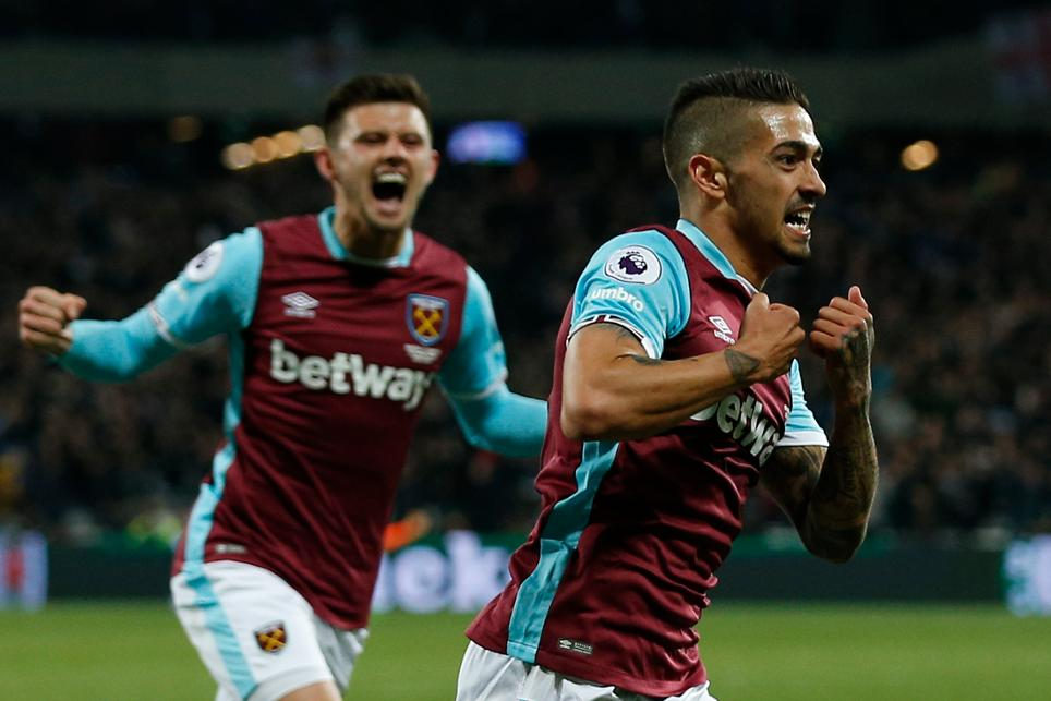 West Ham United v Spurs, Manuel Lanzini celebrates