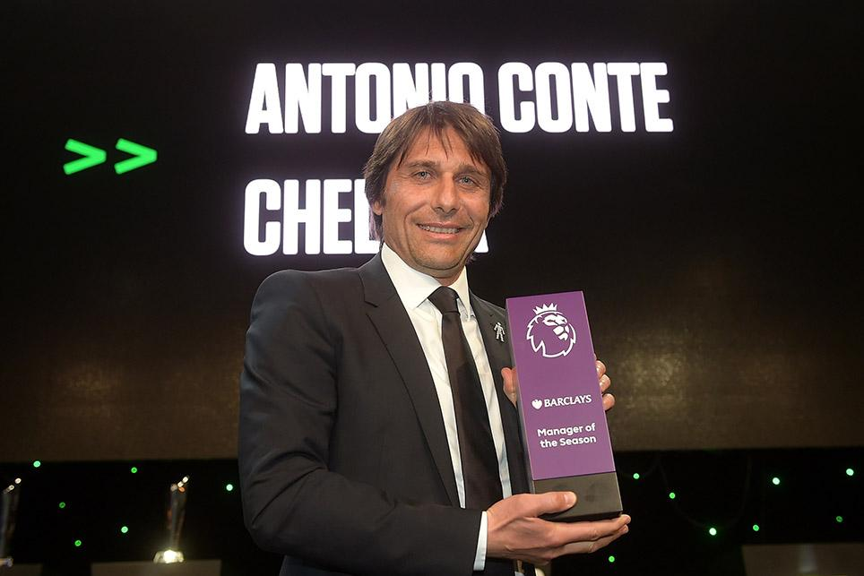 Antonio Conte with the Barclays Manager of the Season award