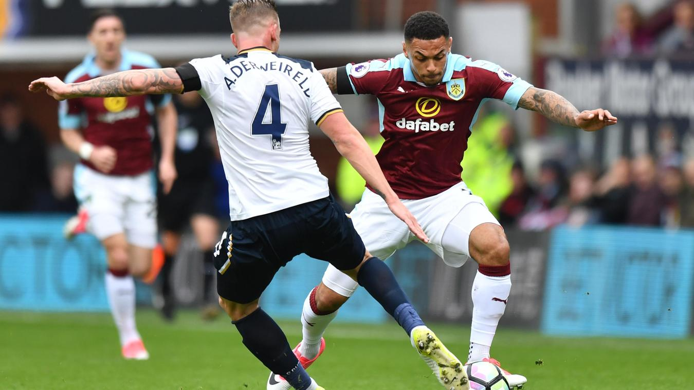 Toby Alderweireld of Spurs and Burnley's Andre Gray