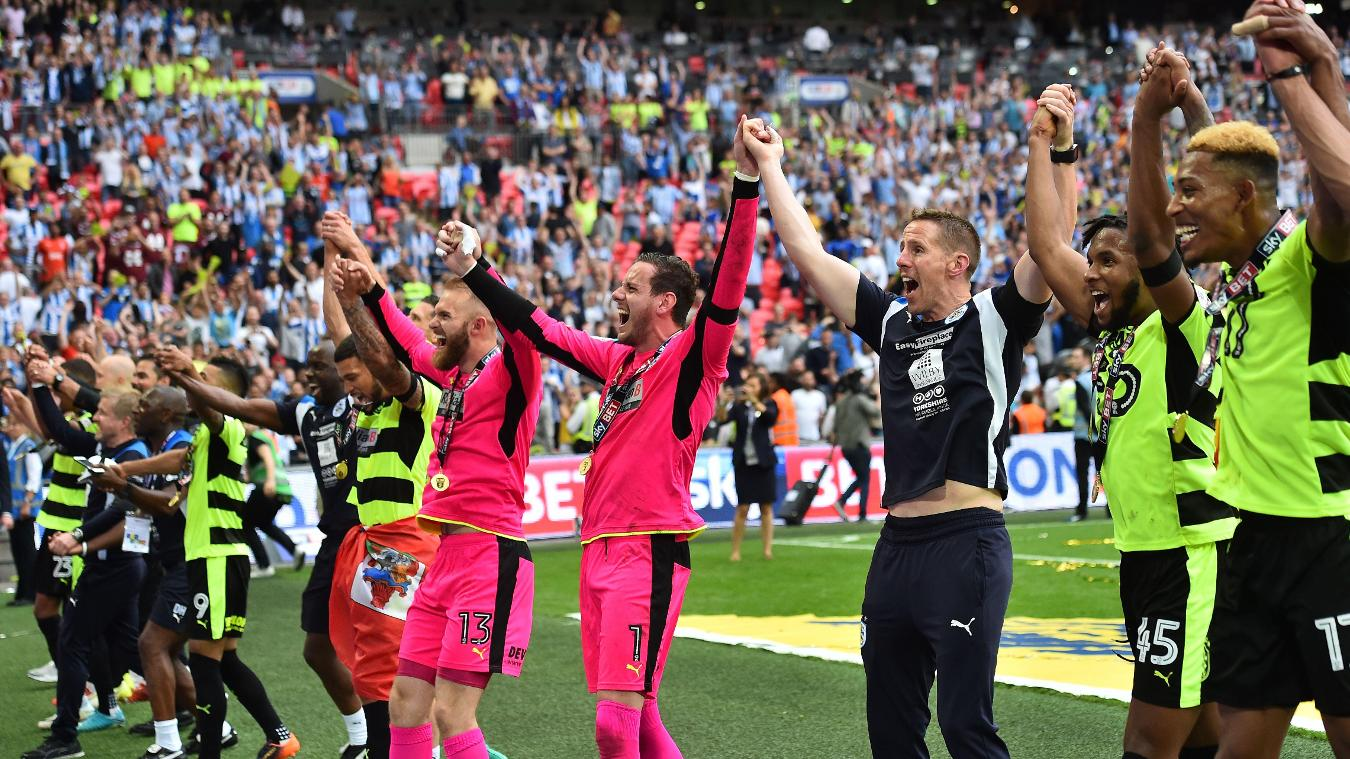 Huddersfield Town celebrate their play-off win