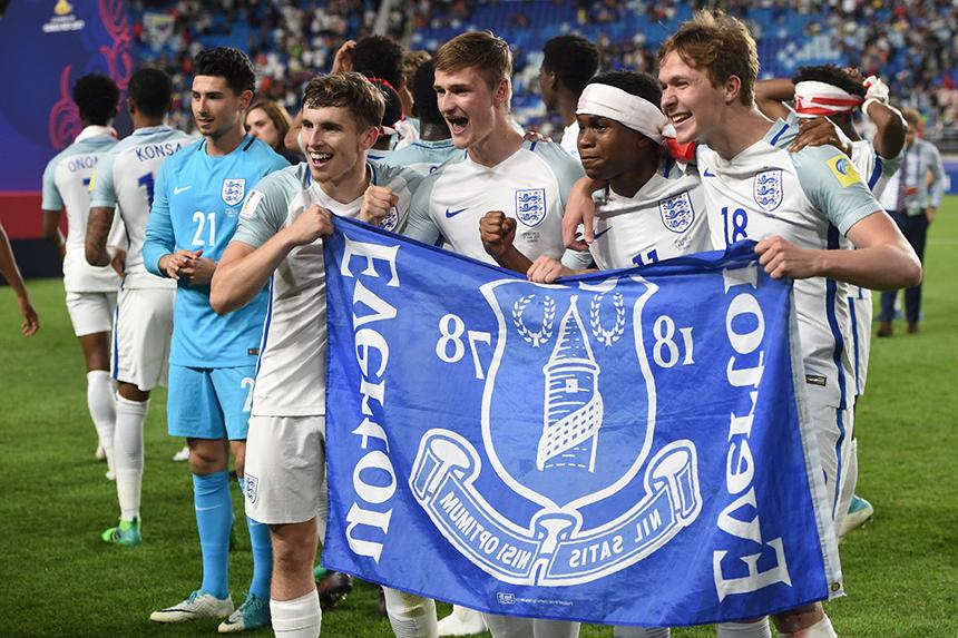 Everton's Jonjoe Kenny, Callum Connolly, Ademola Lookman and Kieran Dowell celebrate winning U20 World Cup with England