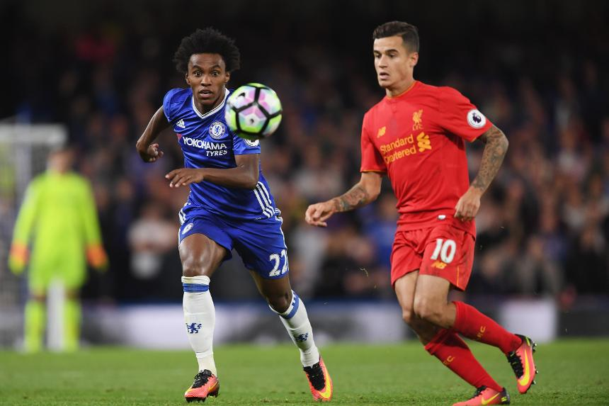 Willian, of Chelsea, and Philippe Coutinho, of Liverpool