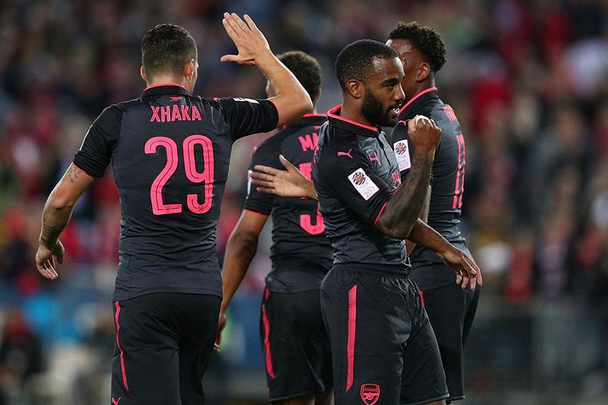 Alexandre Lacazette celebrates scoring for Arsenal
