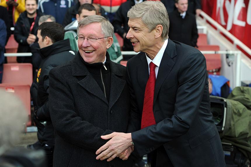 Man Utd's former manager Alex Ferguson and Arsene Wenger of Arsenal
