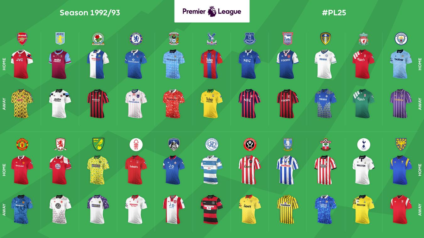 Premier League Home and Away shirts: 1992/93