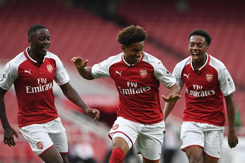 Reiss Nelson celebrates scoring for Arsenal in PL2