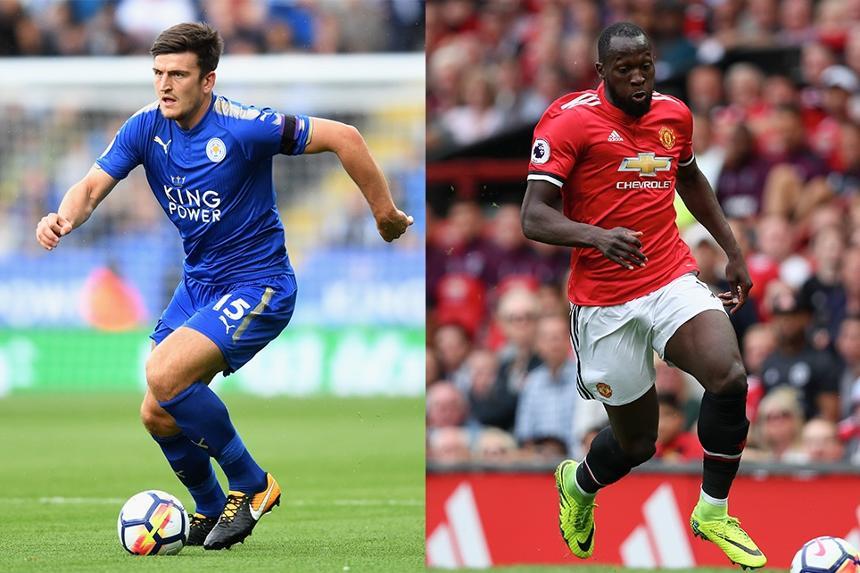 Harry Maguire of Leicester City and Romelu Lukaku of Man Utd