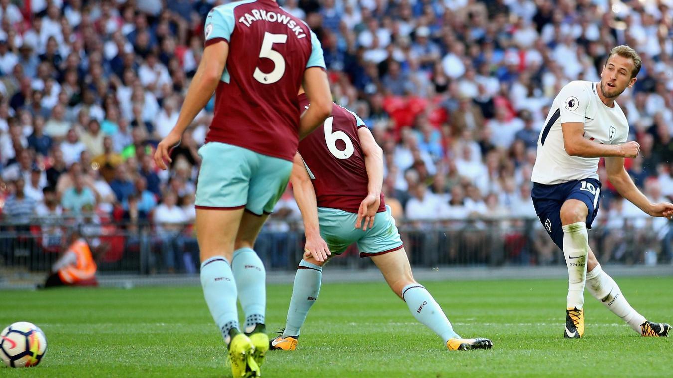 Spurs striker Harry Kane has a shot against Burnley