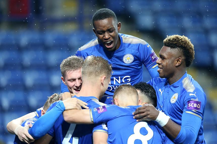 Leicester City players celebrate PL International Cup win