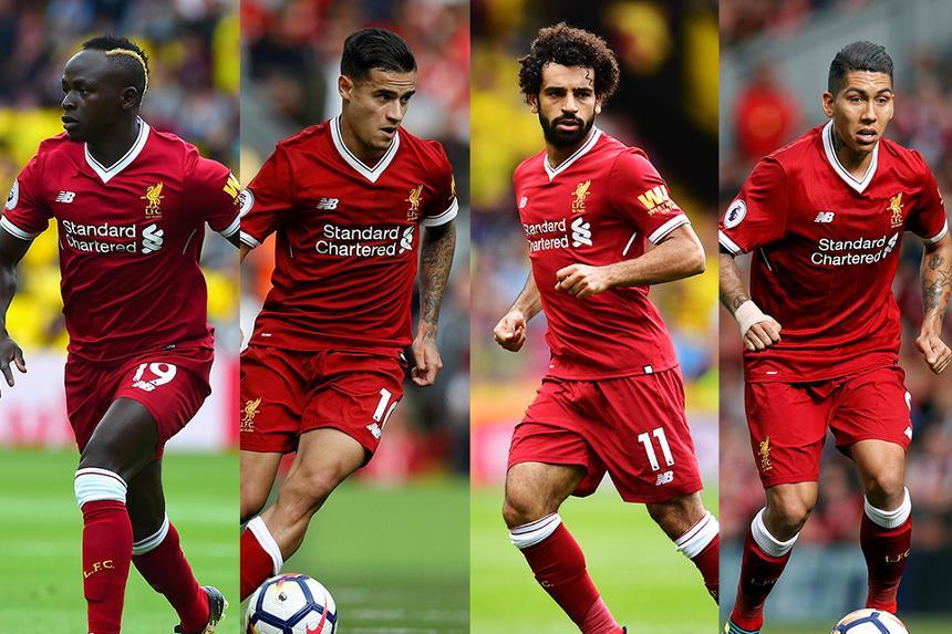 Liverpool's Sadio Mane, Philippe Coutinho, Mohamed Salah and Roberto Firmino