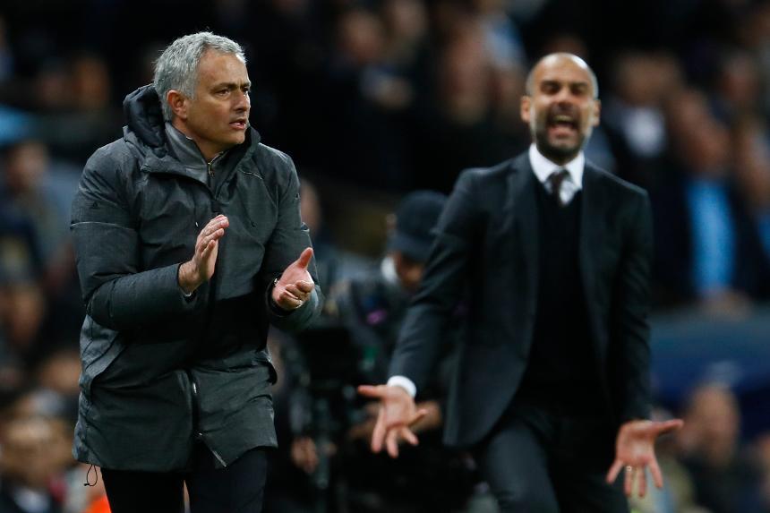 Jose Mourinho, Man Utd, and Pep Guardiola, Man City