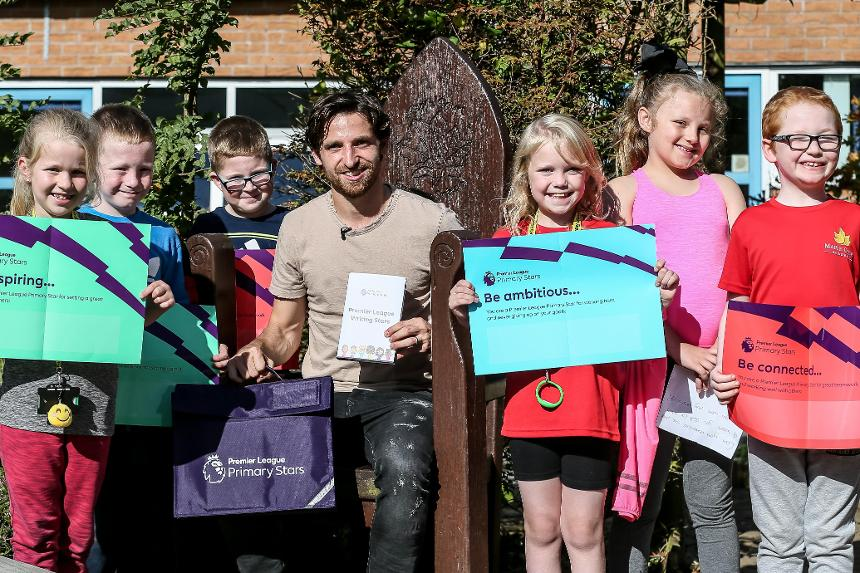 Stoke City's Joe Allen visits Maple Court Academy to promote Premier League Writing Stars