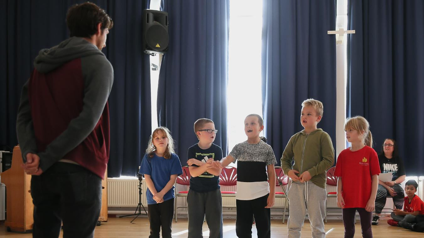 Stoke City's Joe Allen hears PL Writing Stars poems at Maple Court Academy