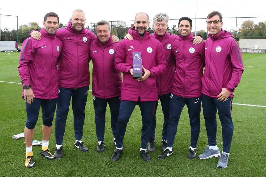 Pep Guardiola and his Man City staff