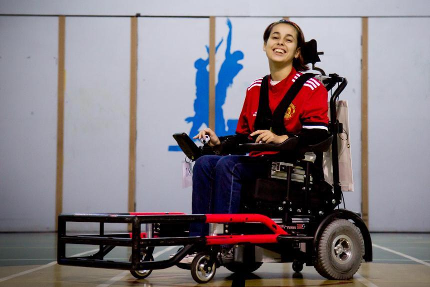 Manchester United powerchair footballer Hannah