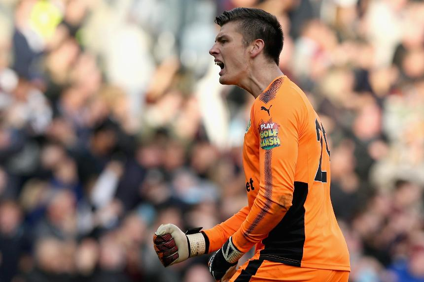 Burnley goalkeeper Nick Pope celebrates in the match against West Ham United