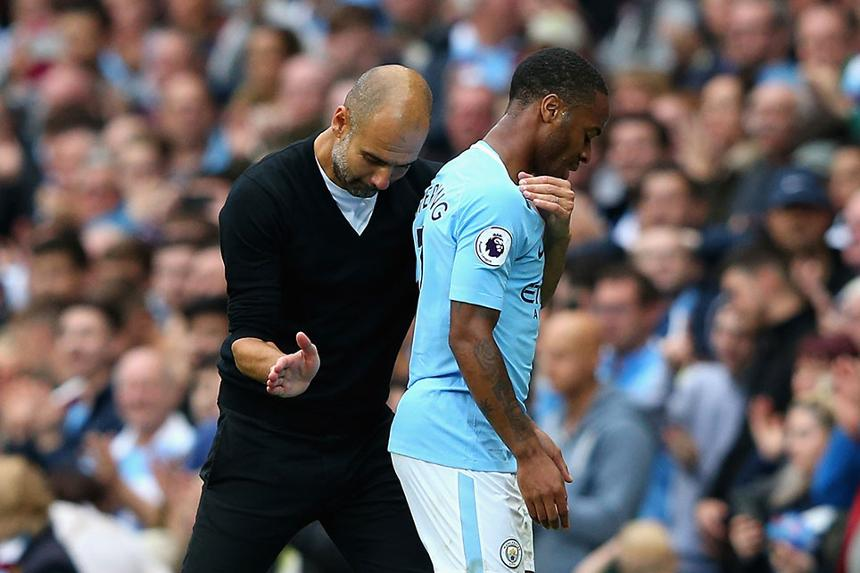 Pep Guardiola and Raheem Sterling, Manchester City