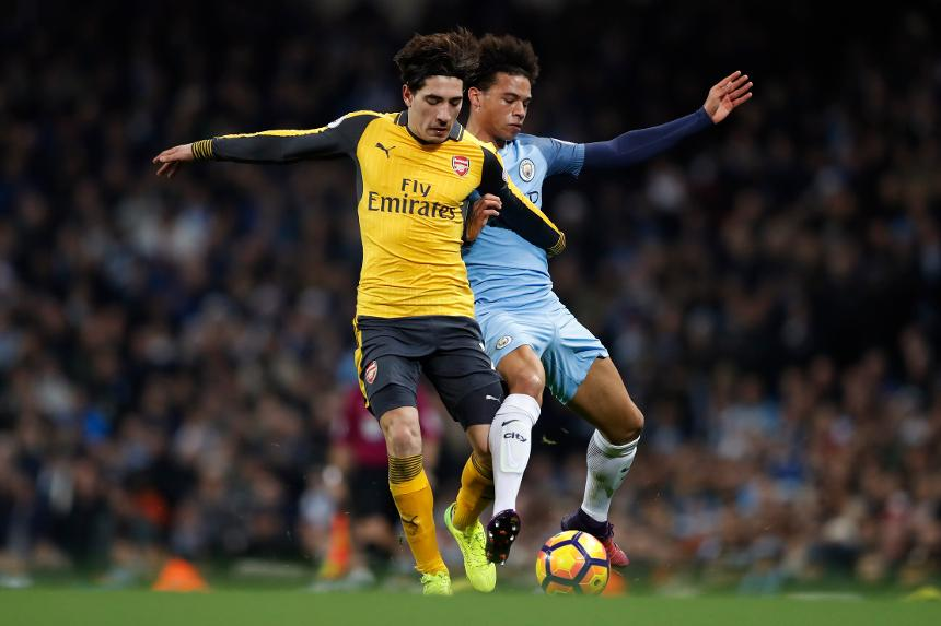 Bellerin and Sane, Arsenal, Man City