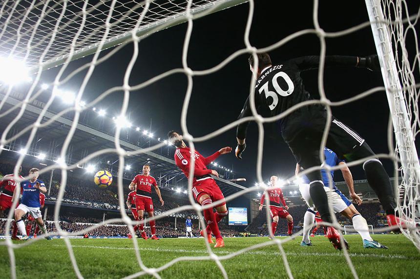 Watford concede a goal by Everton's Dominic Calvert-Lewin