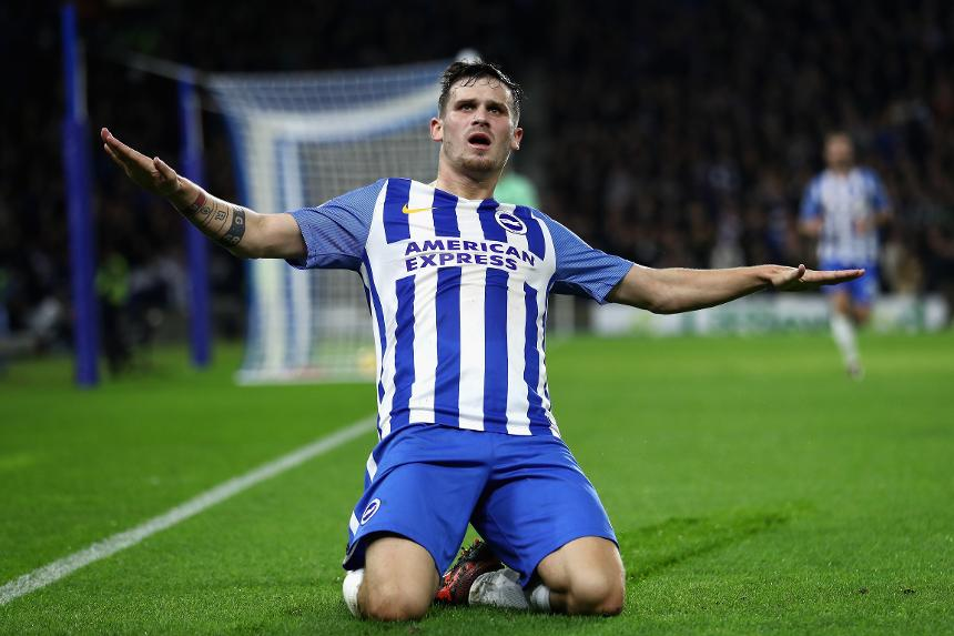 Brighton and Hove Albion v Stoke City - Pascal Gross celebrates