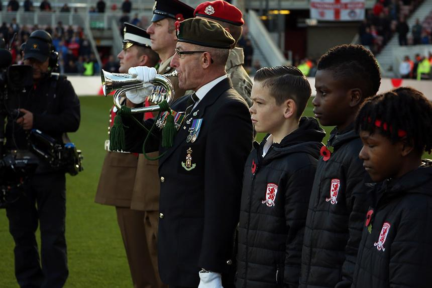 Remembrance tributes by Middlesbrough U12s