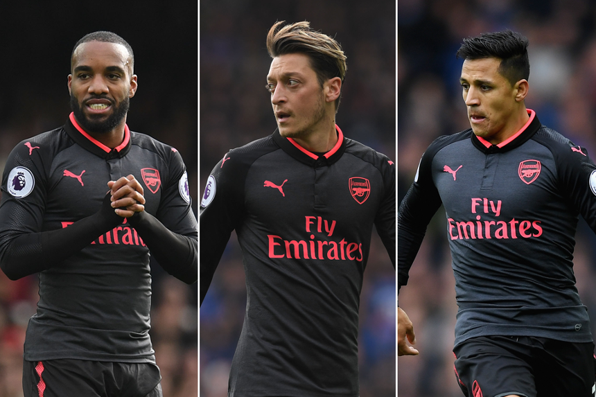 Arsenal's Alexandre Lacazette, Mesut Ozil and Alexis Sanchez