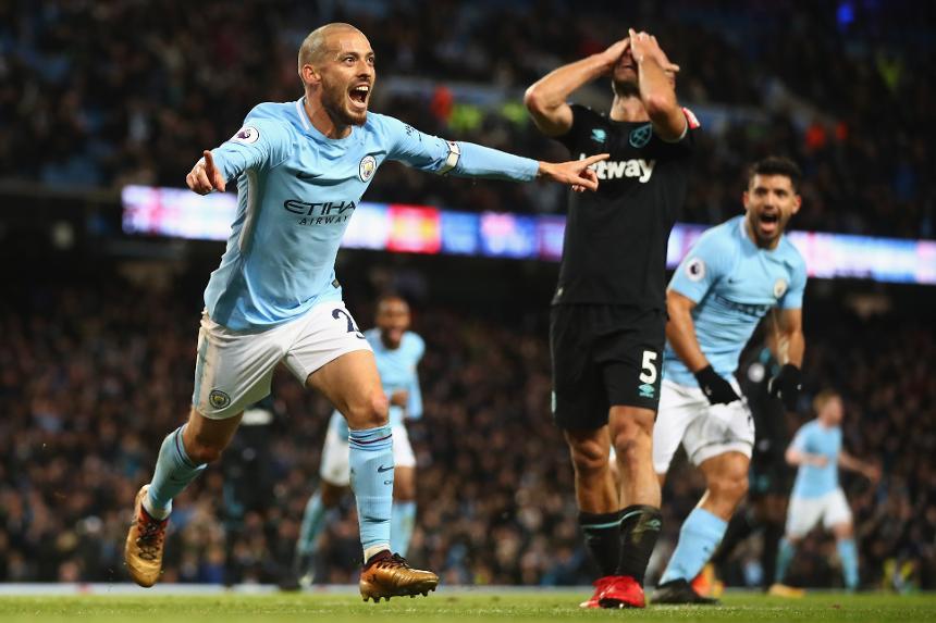 Manchester City v West Ham United David Silva goal