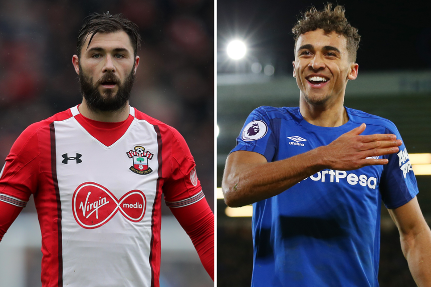 Charlie Austin, of Southampton, and Everton's Dominic Calvert-Lewin