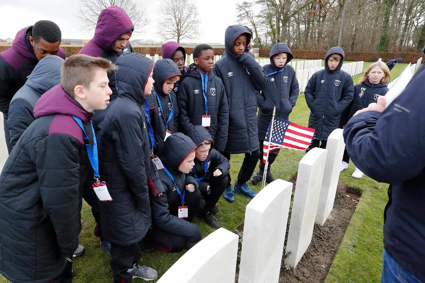 West Ham's players at a cemetery in Ypres, Belgium